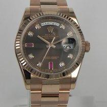 Ρολεξ (Rolex) DAY DATE ROSE GOLD CHOCOLATE DIAL WITH DIAMOND