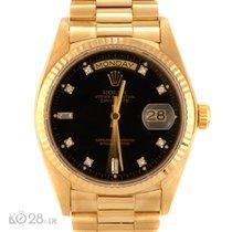 Rolex Day-Date 18038 Gelbgold  Black Diamond Dial Papiere 1980