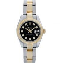 Rolex Ladies Datejust 2-Tone Steel Gold Watch Factory black...