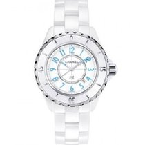 Chanel H3826 J12 Automatic 33mm White with Blue Numbers - on...