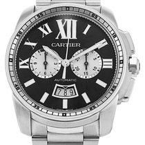 Cartier Calibre Chronograph Black Dial Steel Auto Men's...