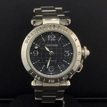 Cartier Pasha C GMT Automatic 35mm Stainless Steel Black Globe...
