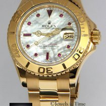 Rolex Yacht-Master 18k Yellow Gold MOP Ruby Dial Automatic...