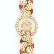 Chopard Yellow Gold Happy Diamond & Ruby Bracelet Watch