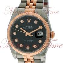 Rolex Datejust 36mm, Black Diamond Dial, Fluted Bezel - Pink...