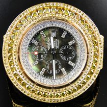 Breitling Mens Breitling Super Avenger Canary Diamond Watch 50 Ct