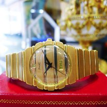 Piaget Polo 18k Yellow Gold Quartz Day Date Round Watch Ref:...