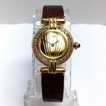 Cartier Colisée Gp Argent Ladies Watch Gold Dial Pink Sapphires