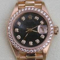 Rolex President Ladies Womens 18k Gold Watch Diamonds Black...