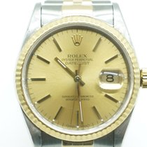 Rolex Datejust 36mm two tone Champagne Gold Stick Dial