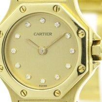 Cartier Polished Cartier Santos Octagon Diamond 18k Gold...