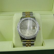 Rolex Mens Excellent 2 Tone Rolex Datejust Oyster Diamond...