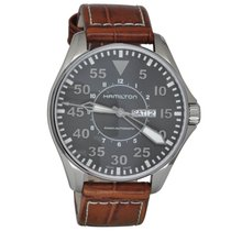 Hamilton KHAKI AVIATION PILOT AUTO Brown Leather Strap H-64715885