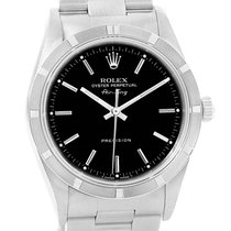 Rolex Air King Black Dial Engine Turned Bezel Steel Mens Watch...