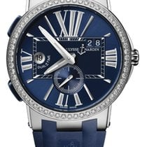 Ulysse Nardin EXECUTIVE DUAL TIME Steel, Bezel Diamonds, Blue...