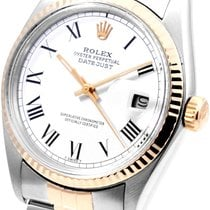 Rolex Mens 18K/SS White Roman Dial - 16013 Model - MINT