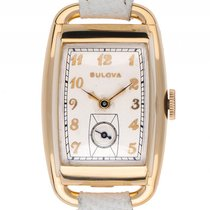 Bulova Vintage Tonneau Gelbgold Handaufzug Armband Leder...