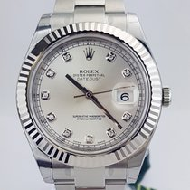 Rolex Datejust II 41mm 18k White Gold Bezel Diamond Dial NEW