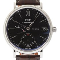 IWC IW510102 Portofino Eight Day 45mm Steel Black Leather #I1061