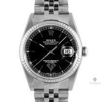 Rolex Datejust Stainless Steel Black Stick Dial Fluted Bezel...