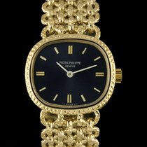 Patek Philippe 18k Yellow Gold Blue Dial Horizontal Ellipse...