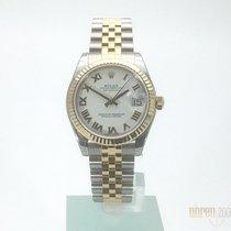 Rolex Datejust 31 Edelstahl Gelbgold 178273 Weiß Röm Jubile-Band