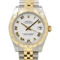 Rolex Datejust Ladies Midsize 178343-WHTRJ White Roman Yellow...