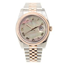 Rolex Datejust 18k Rose Gold And Steel Black Automatic...