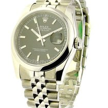Rolex Used 116200_black_stick Mens Steel Datejust with New...