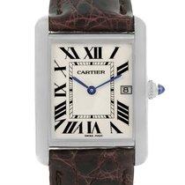 Cartier Tank Louis Mens 18k White Gold Date Watch W1540956