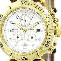 Cartier Polished Cartier Pasha Chronoflex 1847 18k Gold Quartz...
