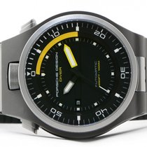 Porsche Design P'6780 Diver Yellow 47mm Watch Black Rubber Box...