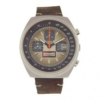 TAG Heuer Vintage Champion 1614 Stainless Steel Brown Leather...