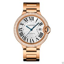 Cartier Ballon Bleu 42mm we9008z3 18kt Rose Gold Diamond Bezel