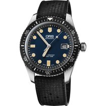 Oris Diver 65 Blue Dial Rubber Strap Mens Watch 73377204055RS