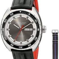 Hamilton American Classic Pan Europ Grey Dial Leather Men'...