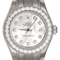 Rolex Ladies Mother of Pearl Diamond Pearlmaster 18k White...