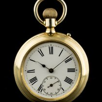 A Gold Plated Porcelain Dial Manual Wind Pocket Watch C1900