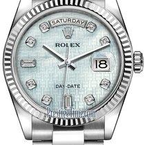 Rolex Day-Date 36mm White Gold Fluted Bezel 118239 Platinum...