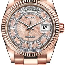 Rolex Day-Date 36mm Everose Gold Fluted Bezel 118235 Pink MOP...