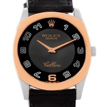 Rolex Cellini Danaos 18k White Rose Gold Black Strap Watch 4233