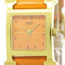 Hermès H Watch Gold Plated Leather Quartz Ladies Watch Hh1.201...