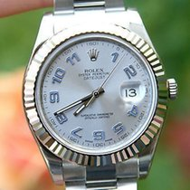 Rolex Mens 41mm Datejust Ii 18k White Gold Steel 116334 Blue...