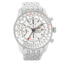 Breitling Navitimer World Silver Dial Steel Mens Watch A24322