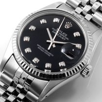 Rolex SS 36mm DATEJUST Black Diamond Dial - 16014 Quickset 1980s
