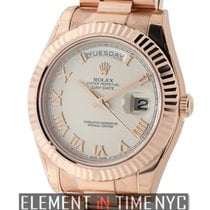 Rolex Day-Date II President 18k Rose Gold Ivory Roman Dial 41mm