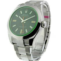 Rolex Unworn 116400 GV Milgauss Green Crystal with Black Dial...