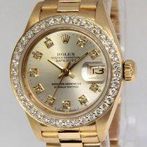 Rolex Datejust President 18k Yellow Gold Silver Diamond Ladies...