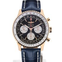 Breitling Navitimer 01 43 Gold Case Blue Crocodile Leather...
