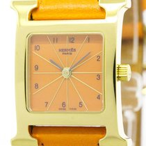 Hermès Never Used Hermes H Watch Gold Plated Leather Quartz...